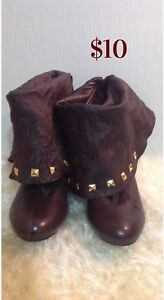Brown Gold studded boots: women's size 7.5-8