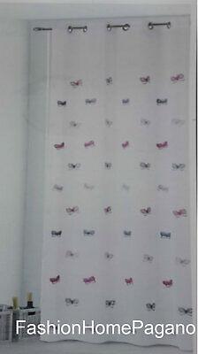 Pannello tenda con borchie ricamato disegno farfalle 140x280 cm