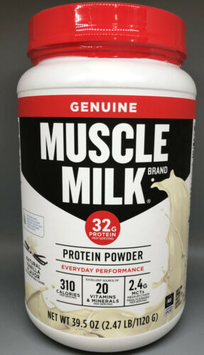 Muscle Milk Protein Powder, Natural Vanilla, 39.5 oz/2.47 lb, EXP 10/2021, NEW!