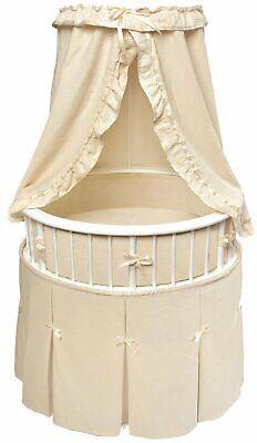 Baby Infant White Frame Elite Oval Bassinet with Ecru Waffle Bedding NEW   91