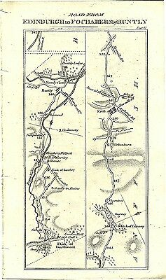 Antique map, Perth to Fochabers (2) / Perth to Old Rain (1)