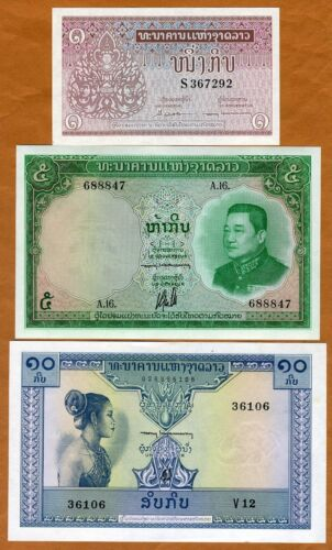 SET Lao / Laos, Kingdom, 1-5-10 Kip, ND (1962), P-8-9b-10b, UNC