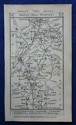 Original antique road map OXFORDSHIRE, GLOUCESTERSHIRE, WOODSTOCK, Paterson 1785
