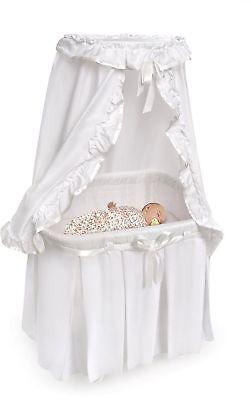 Baby Bassinet Portable Basket Crib Infant Cradle Canopy White Nursery Furniture