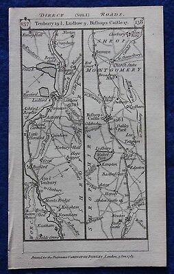 Original antique road map SHROPSHIRE, BERKSHIRE, LUDLOW, TENBURY, Paterson, 1785