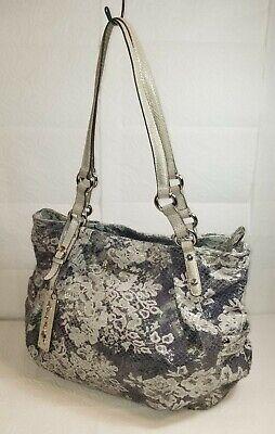 B. MAKOWSKY  Metallic Blue Gray Floral Shimmer Snake Embossed Handbag QVC