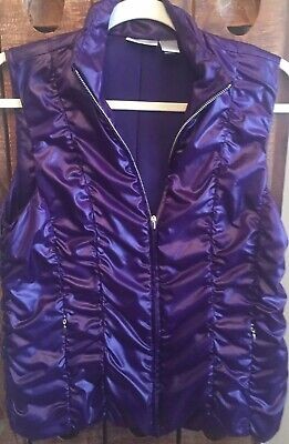 Zenergy by Chicos Purple Puffer Style Vest  Jacket Zip Front Size 0 (small)