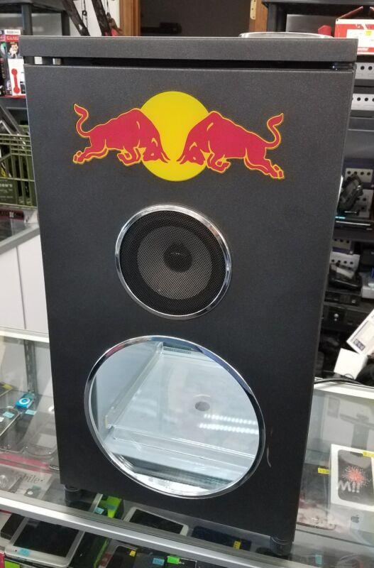RED BULL MINI FRIDGE FAUX DJ SPEAKER COOLER BAR REFRIGERATOR OFFICIAL AUTHENTIC