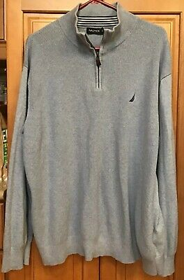 Nautica Mens Sweater Quarter Zip Pullover 3XL Blue Long Sleeve Cotton 3X