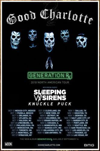 GOOD CHARLOTTE Generation Rx Tour 2018 Ltd Ed RARE Poster! SLEEPING WITH SIRENS