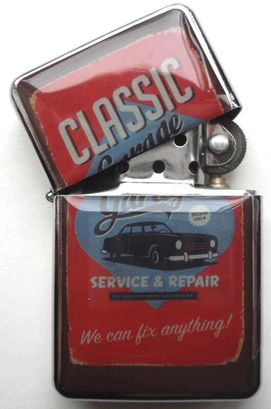 Retro Car sign Windproof LIGHTER Classic Garage