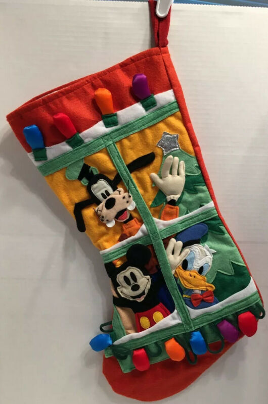 "Vintage Disney 90s 3D Felt Christmas Stocking Mickey Donald Goofy in Window 19"""