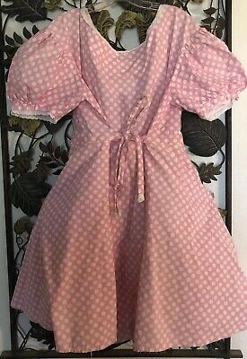 Country Western Costume Dress Square Dancing Pink White Halloween Women's LG