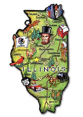Illinois The Land of Lincoln State Artwood Jumbo Fridge Magnet