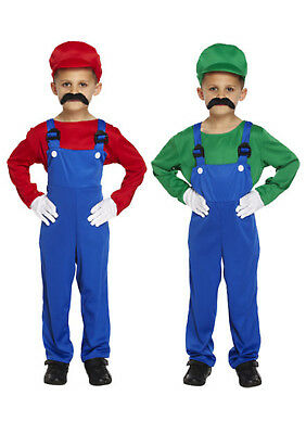 KIDS BOYS SUPER MARIO AND LUIGI BROS FANCY OUTFITS DRESS WORKMAN PLUMBER 4-12 ](Boys Luigi Costume)
