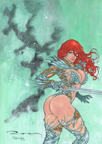 WITCHBLADE SEXY PINUP ART ORIGINAL COMIC  PENCIL BY RON ADRIAN, PAINTS BY ROB