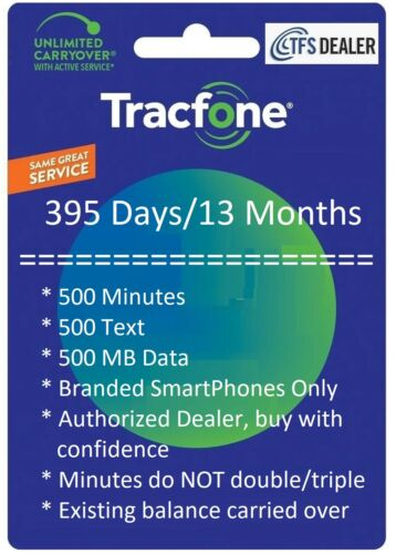 TracFone Service Extension 1+ Year/395 Days,500mins/500txt/500MB Branded SmartPh