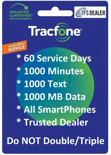 TracFone Refill For Smart Phones: 60 Service Days 1000 mins/1000Text/1000MB Data