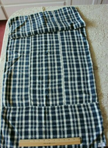 "Antique 19thC French Indigo Plaid Linen Pillow-Sham Case~Hand Loomed~45"" X 22"""