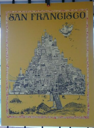 "1968 David Schiller Pop Art ,Topography Map Of  ""San Francisco"" Linen Poster"