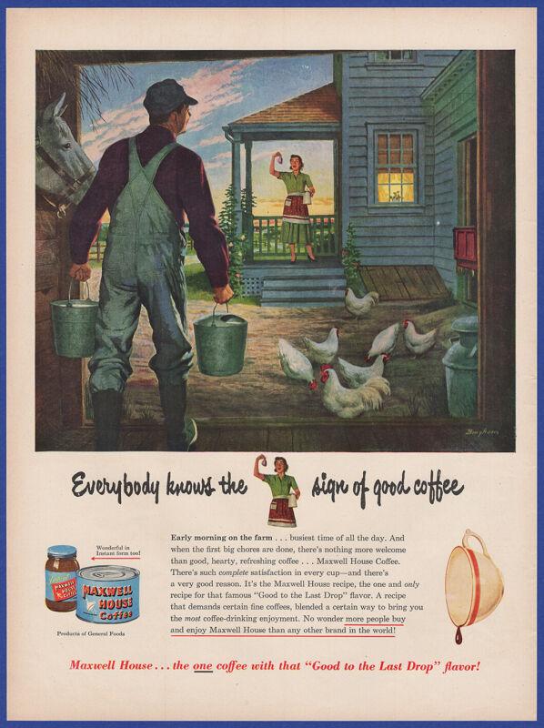 Vintage 1950 MAXWELL HOUSE Coffee General Foods Chicken Farmer Art 50