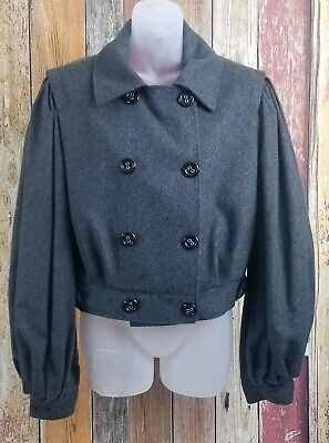 Dolce & Gabbana Wool Cashmere Double Breasted Cropped Jacket SZ 46 US L 10