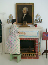 Antique German Mantel Clock Metal And Wood Doll House Miniature 1900-1920s