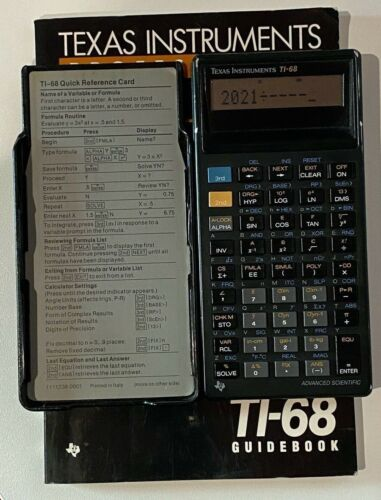 Vintage TI-68 Scientific Texas Instruments Calculator with Cover and Guidebook