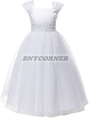 New White First Holy Communion Flower Girl Dress Wedding Baptism - First Holy Communion Dress