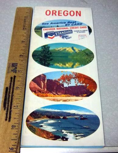 vintage 1968 Oregon highway Road Map, Great Graphics & color, Chevron Standard