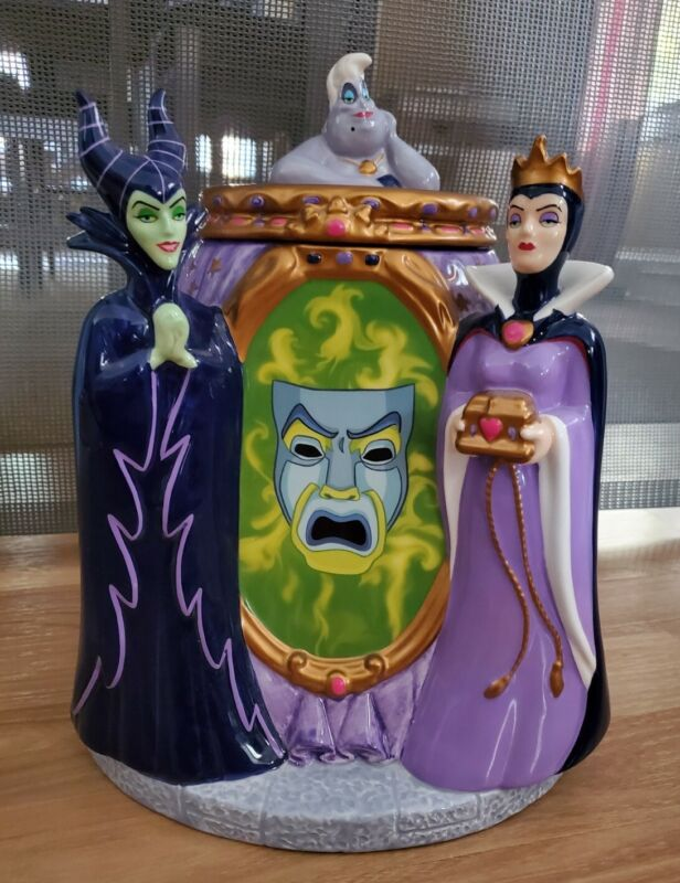 Disney Villains RARE Cookie Jar MALEFICENT Evil Queen URSULA Mirror Look! 👀