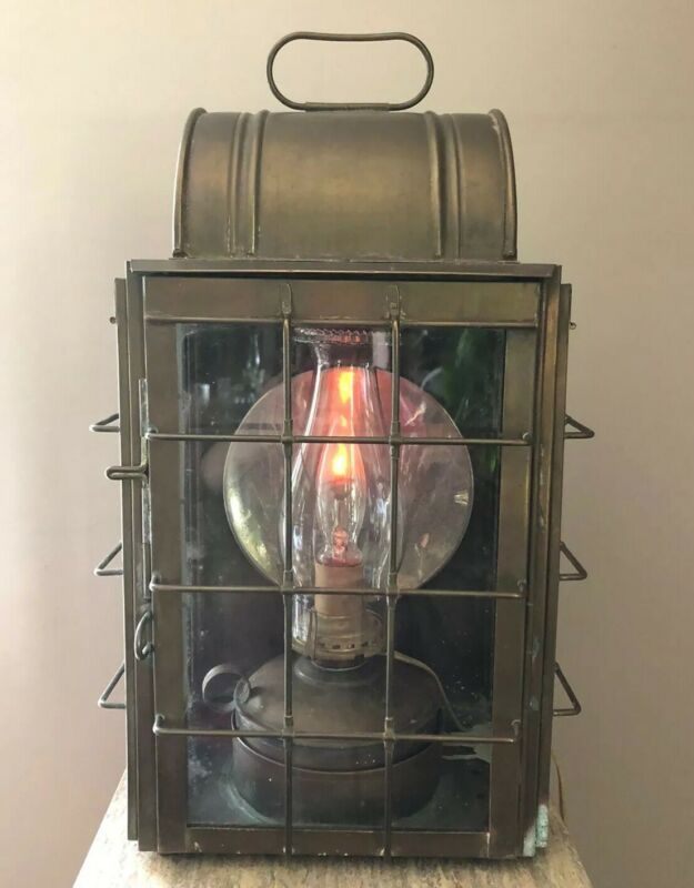 "WILCOX CRITTENDEN RARE Antique Marine Lantern W Reflector 18"" Original Glass"