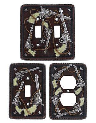 Western Cowboy Theme Decorative Outlet Covers Switch Plates Pistols Rope Stars - Cowboy Theme Decorations
