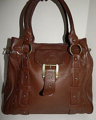 Betsey Johnson Brown Tumbled Leather Studded Huge Satchel Brief Bag