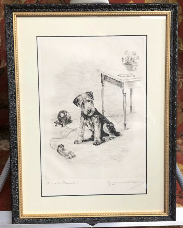 MARGUERITE KIRMSE (1885-1954) SIGNED ETCHING OF AN AIREDALE TERRIER PUPPY