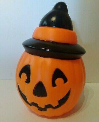 """Empire Blow Mold pumpkin Jack O Lantern Witch Hat 1995 Halloween Vintage 8 1/2"""""""