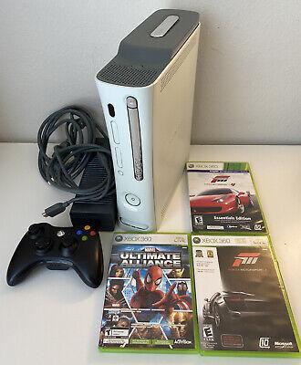 🟢 Microsoft Xbox 360 HDMI 20GB White Console - Forza Motorsport 2 3 4 Bundle