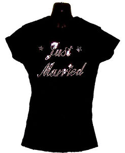 JUST-MARRIED-BRIDE-BRIDAL-CRYSTAL-DIAMANTE-FITTED-LADIES-T-SHIRT-ANY-SIZE