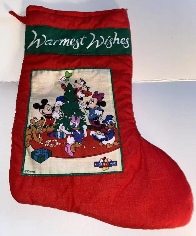 Disney Mickey Mouse Minnie Xmas Stocking Warmest Wishes Vtg Goofy Donald Daisy