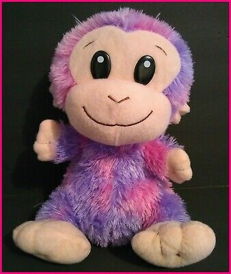 "13"" Purple Pink Baby Monkey Plush Ape Soft Toy Shaggy Large Eyes Smile Sitting"