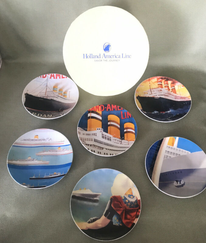 """HOLLAND AMERICA LINE - Savor The Journey -  Set Of 6 Collector 6"""" Plates"""