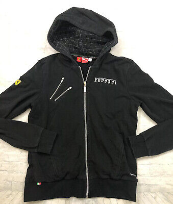 PUMA SCUDERIA FERRARI Women's Black Sweatshirt Jacket Full Zip Up Size XL Hoodie