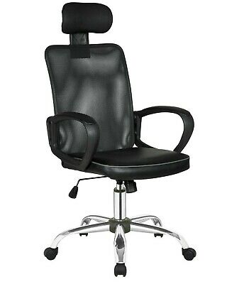 Executive Mesh Office Chair Headrest Support Black Faux Leather Home Gaming Desk