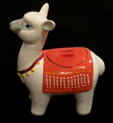 "Threshold Stoneware Colorful Llama Kitchen Cookie Jar 11 1/2"" White Brand New!"