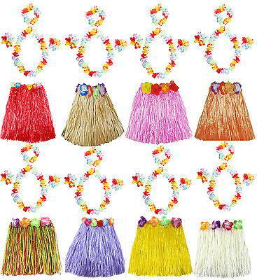 LADIES LONG 40CM 5 PC HAWAIIAN HULA SKIRT LEI SET GIRLS HULA FANCY DRESS COSTUME - Lei Costume