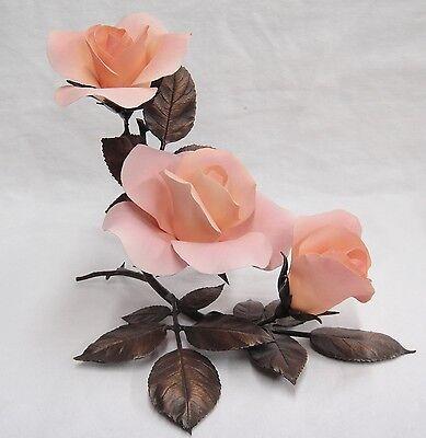 Boehm Porcelain and Bronze 3 Rose Sculpture Elizabeth of Glamis 60117 Mint LE
