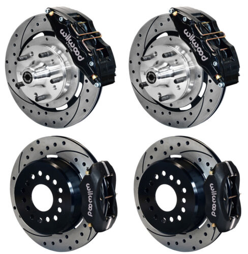 "Wilwood Disc Brake Kit,65-69 Ford,mercury,12"" Drilled Rotors,6 Piston Front,blck"