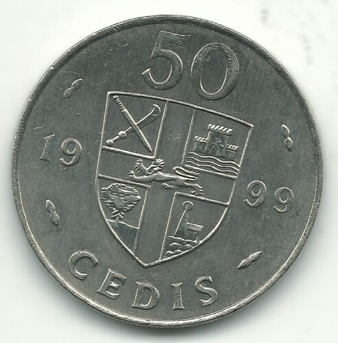HIGH GRADE UNC 1999 GHANA 50 CEDIS COIN-JUL138