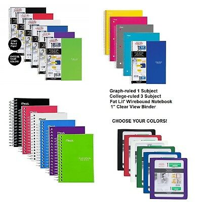 (Five Star Binders Notebook 1 & 3 Subject Graph College Ruled Paper Fat Lil Wire)
