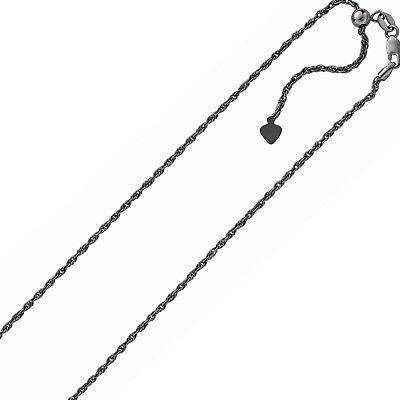 1.50mm Adjustable Rope Chain Necklace Rhodium Black Oxidized  Silver Up To